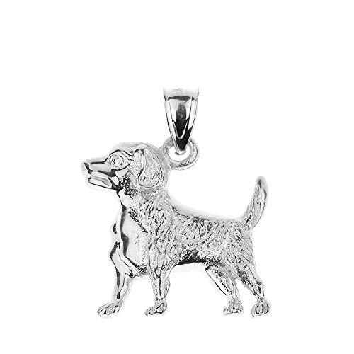 (Polished 925 Sterling Silver Beagle Dog Charm)