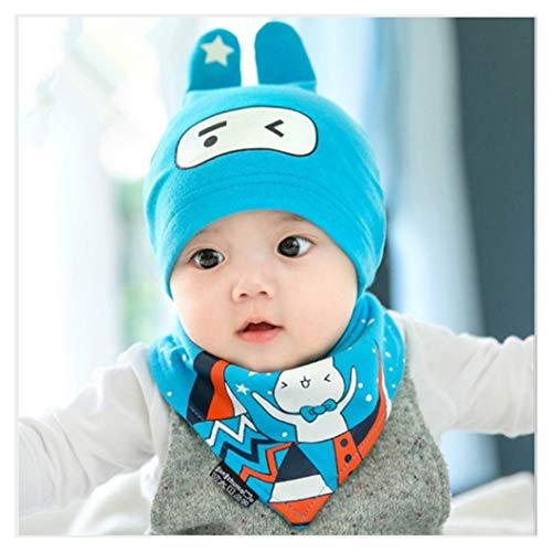 Baby Infant Hat Scarf Set Calico Print hat with Ears and Eyes Cartoon Animal Design ()