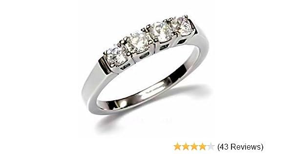 1000 Jewels Natalie: 0 64ct Russian Ice on Fire CZ 4 Stone Anniversary  Wedding Band 316 Steel, 3111