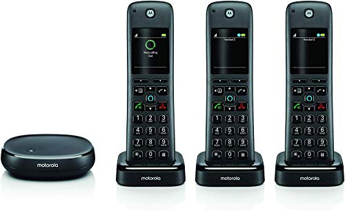 Motorola AXH03 Smart Wireless Home Phone System with Alexa Built-in and Speaker Phone - 3 Cordless Phone Handsets Included