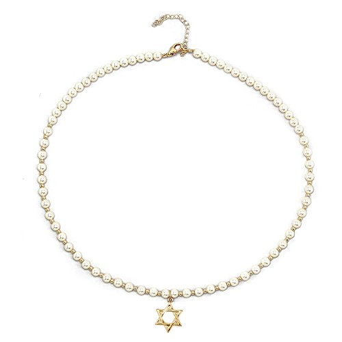 Crystal Dream Luxury 14KT Gold-filled Beads and Star of David Charm Stylish Unisex Infant Necklace with Cream Swarovski Simulated Pearls(NGSD) 14kt Gold Baby Boy Charm