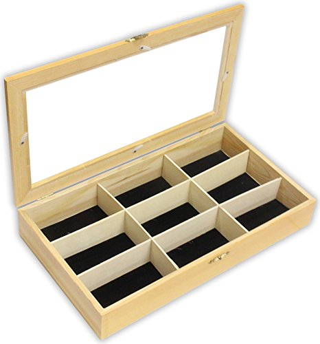 15 x 8-Inch 9-Compartment Wood Jewelry Display Organizer Case with Clear Top Black Felt Lined Metal Hinges and Clasp