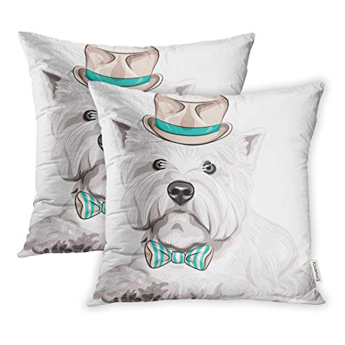 (Emvency Set of 2 Throw Pillow Cover Cushion Case Decorative 18 x18 Inch Closeup Portrait Hipster Serious Dog West Highland White Terrier Breed in Beige Silk Pillowcase Two Sides Print Covers)