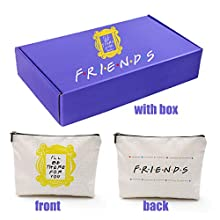 CoolGiftHome Friends Forever [25th Anniversary Ed] Friends TV Show Merchandise Peephole Yellow Frame Cosmetic Bag Friends Makeup Bag with Friends Gift Box for Friends Fans