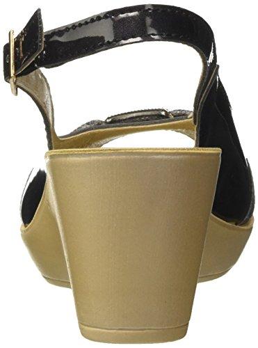 Inblu DN000035, Sandalias de Cuña Mujer Negro