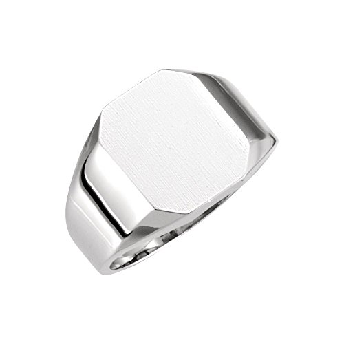 14k White Gold 12x10mm Octagon Signet Ring - Size 6 (Signet Octagon Ring Gold White)