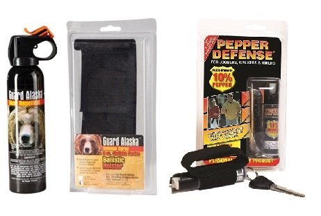 Pepper Defense Combo Pack - Guard Alaska Bear Repellent with Belt Clip Holster Max Strength 10% OC Pepper Spray w/Hand Strap by Pepper Defense