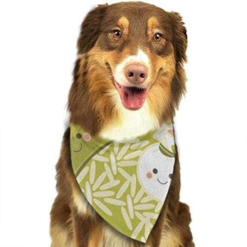 ZZJIAK Dog Bandana Scarf Dumplings with Rice Triangle Bibs Printing Kerchief Set Accessories Dogs Cats Pets ()