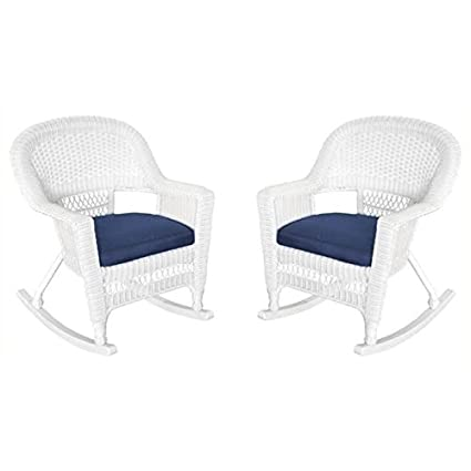 Pemberly Row Wicker Patio Rocker With Cushion In White And Blue (Set Of 2)