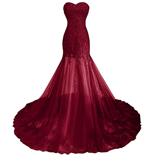 Little Star Women Burgundy Prom Dresses Long Sexy 2017 With Train Mermaid Party Gown,Burgundy,18 Plus