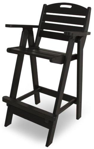 (POLYWOOD NCB46BL Nautical Bar Chair, Black)