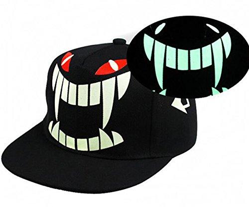 Glow in the dark bat bloodsucking bat Hip Hop Snapback Baseball Cap hat(Bat)