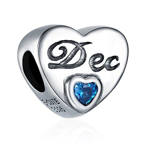 December Bead Boy Charm - December Birthstone Charms 925 Sterling Silver Initial Heart Charm Bead for European Bracelet