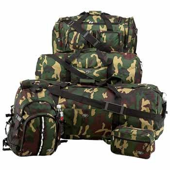 5 Piece Leather Luggage Set - ExtremePak LUCAMSET 5 Piece Camouflage Army Design Luggage Set