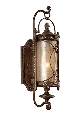 Corbett Lighting 76-21 St. Moritz 1-Light Wall Lantern, Moritz Bronze Finish - Tea Stain Glass