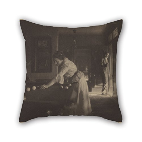 Slimmingpiggy Oil Painting Gertrude Käsebier (American - (Gertrude Käsebier O'Malley At Billiards) Throw Pillow Covers 20 X 20 Inches / 50 By 50 Cm Gift Or Decor For Teens,home Theater,living Roo (American Classic Jr Writing)