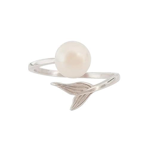 regalo del día de la madre,ELAINZ HEART® La Sirena anillos de plate 925 de finos perlas de diseño unico de ley ajustables