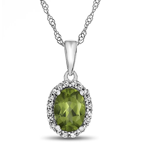 Slide Peridot Oval - Finejewelers 10k White Gold 7x5mm Oval Peridot with White Topaz accent stones Halo Pendant Necklace