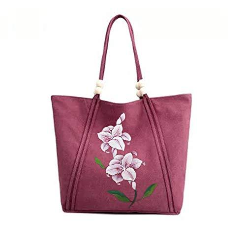 Beautiful Hand Painted Magnolia and Lotus Tote Bag (purple)