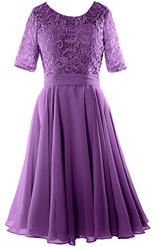 Bride Neck Midi Formal Violett Gown Women MACloth the of Sleeve Lace Dress Mother O Half AwW7fqU