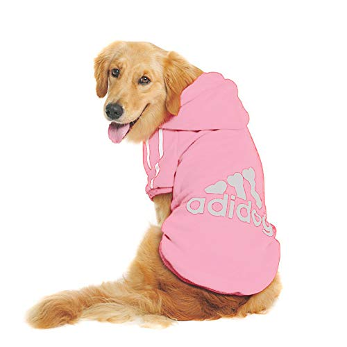 Rdc Pet Large Dog Hoodies, Apparel, Fleece Adidog Basic Hoodie Sweater, Cotton Jacket Sweat Shirt Coat from 3XL to 9XL (9XL, Pink)
