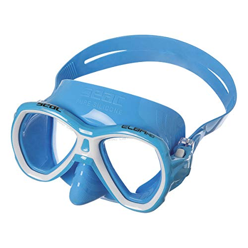 Light Two Elba (SEAC Junior Elba Snorkeling and Swimming Soft Silicon Mask, Two Lenses MD S/AZ Light Blue, Light Blue)