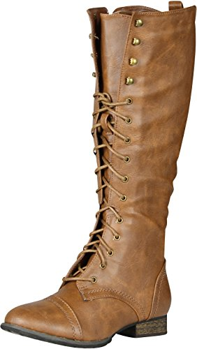 Breckelle's Outlaw Women's Lace Up Knee High Riding Boots,Outlaw-13v2.0 Tan 6