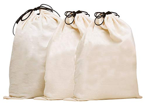 Misslo Set of 3 Cotton Breathable Dust-proof Drawstring Storage Pouch Bag, (Pack 3 XL) ()