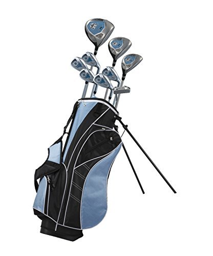 Precise Distinctive Left Handed Junior Golf Club Set for Age 3 to 5 (Height 3′ to 3'8″), Left Handed Only, Set Includes: Driver (15″), Hybrid Wood (22, 7 Iron, Putter, Bonus Stand Bag & 2 Headcovers