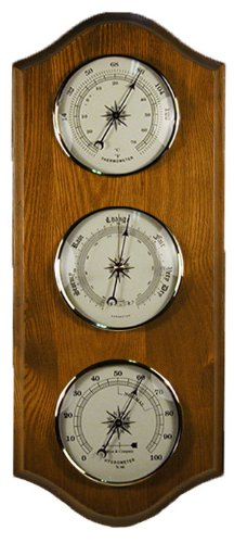Home Weather Station Barometer Thermometer Hygrometer in Dark Oak -