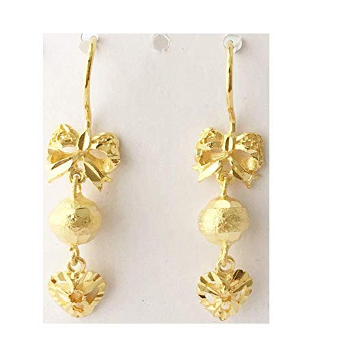(Wicuas&Associates 5 microns 24k Gold Filled Plated Drop Dangle Earrings Durable Lifetime nonfaded nontarnished Sandblasted Heart Beaded Bow Lightweight Thai)