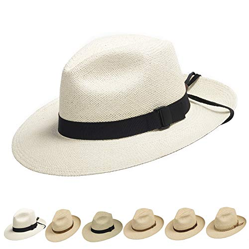 Ultrafino Fedora Packable Foldable Panama Straw Hat Classic Black Leather Chin Strap 7 1/2