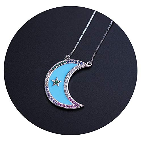 Tata Trend 925 Sterling Silver Pendant Necklace Pave Colorful CZ Enamel Moon Statement Collar for,Blue