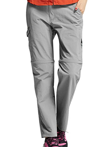 Panegy Womens Convertible Tactical Pants Waterproof Cargo Pants Removable Legs Slim Fit Grey 3XL