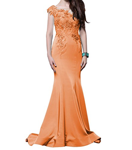 LiCheng Bridal Beaded Embroidered Mermaid Evening Party Gowns Long Sleeveless Formal Dress With Train Orange US10 Embroidered Taffeta Evening Gown