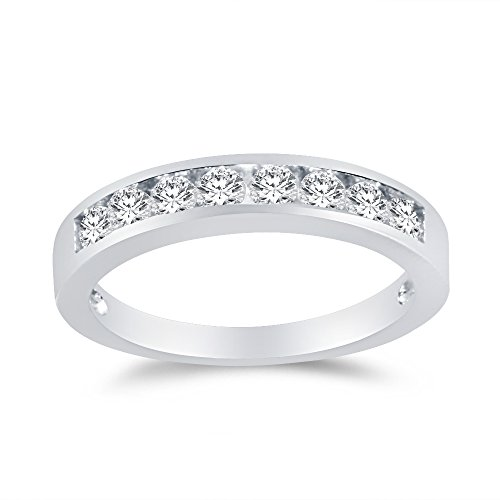 Sterling Silver Wedding Band Round CZ Engagement Bridal Ring 3.5mm width Channel Set, - Mm Channel Set 3.5