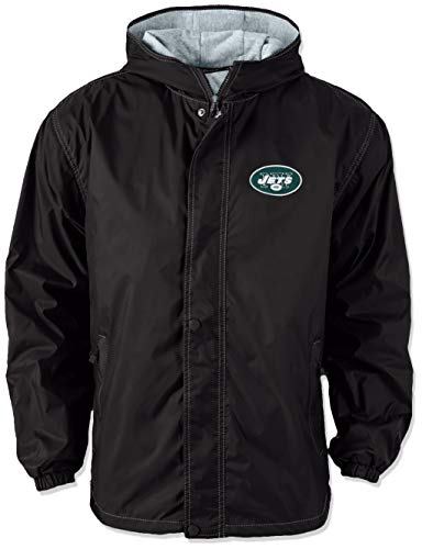 NFL New York Jets Legacy Nylon Hooded Jacket, 2x large, black