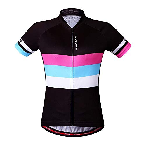 WOSAWE Women Short Sleeve Cycling Jersey ONLY, ColorShine, Size S