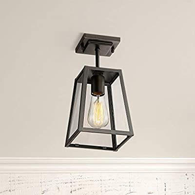 "Arrington Modern Outdoor Ceiling Light Fixture Mystic Black 6"" Clear Glass Damp Rated for Exterior House Porch Patio Deck - John Timberland"