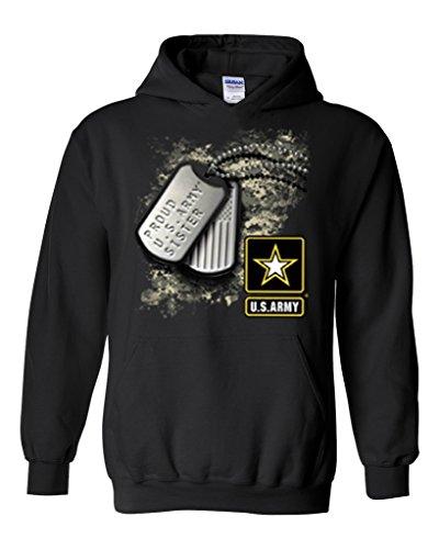 Artix Proud U.S. Army Sister Tag Unisex Hoodie Sweatshirt Medium Black (Sweatshirt Hooded Army Sister)