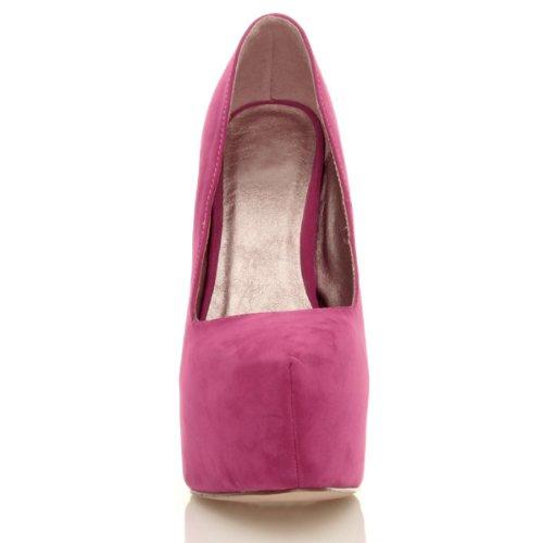 Damen Sehr Hoher Absatz Verdeckter Plateausohle Party Pumps Schuhe Größe Dunkelfuchsienrosa Wildleder