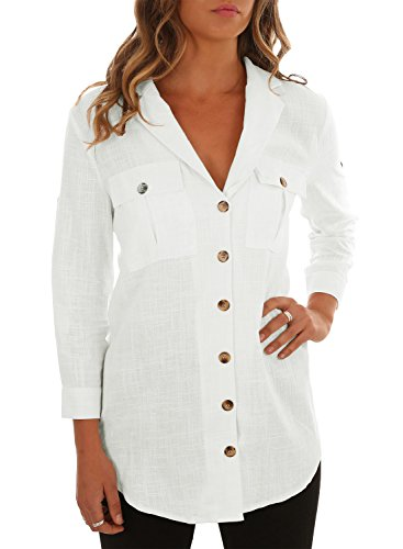 Astylish Women Casual Cuffed Sleeve Button Down Shirts Blouse Loose Tops Two Front Pockets
