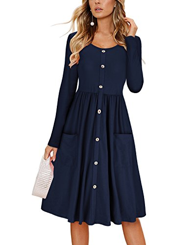 KILIG Women's Dresses Long Sleeve Casual Button Down Swing Dress with Pockets(Navy,M)