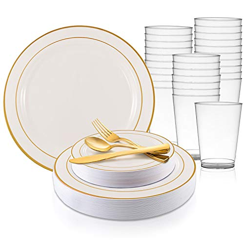 Disposable Plastic Dinnerware Set for 120 Guests - Includes Fancy White Dinner Plates w/Gold Rim, Dessert/Salad Plates, Silverware Set/Cutlery & Cups For Wedding, Birthday Party & Other ()