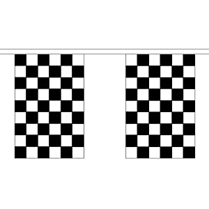 Black & White Check Chequered Giant Bunting 18.25m - 30 Flags 45cmx30cm F1 Party by Black & White Check