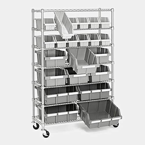 Wire Storage Rack with 22 Bins and Casters - Shelving Unit with 7 Adjustable Shelves - Platinum