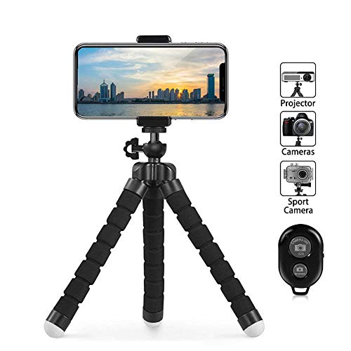 Gopro Tripod Stand,Octopus Lightweight Adjustable Camera Stand Phone Tripod Holder with Bluetooth Remote and Universal Clip Flexible iPhone Tripod (Black)