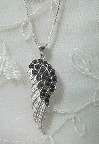 - Angel Wing Pendant Necklace For Women Jet Black Cubic Zirconia Silver New