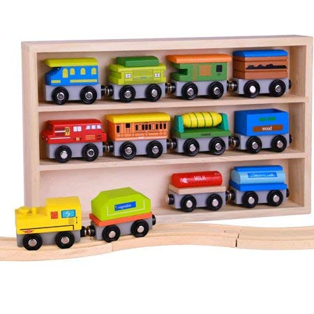 Pidoko Kids Wooden Train Set - 12 Pcs Engines Cars - Compatible with Thomas Train Set Tracks and Major Brands - Perfect Toy for Boys and Girls - Train Toy Engine