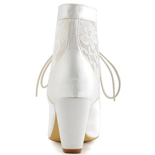 mariage Dentelle de Ivoire HC1528 Femmes bottines Bottes mariee ElegantPark satin FAgqg4